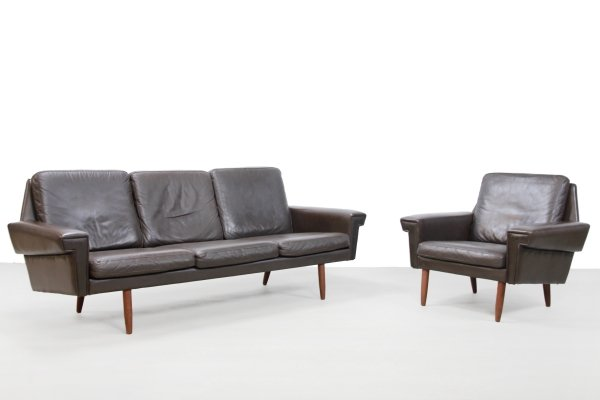 Brown leather Danish design sofa & armchair from Vejen Polstermobelfabrik, 1960s