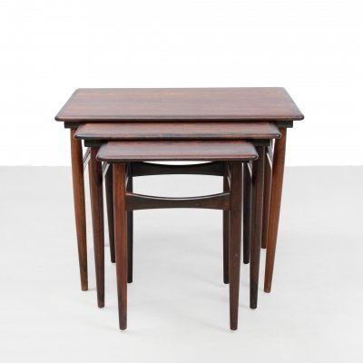 Set of Rosewood nesting side tables from Kai Kristiansen