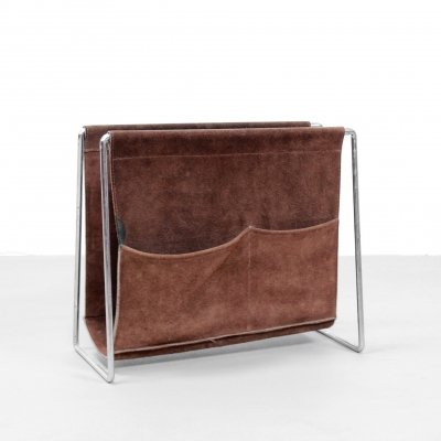 Brown leather Verner Panton Bachelor magazine rack