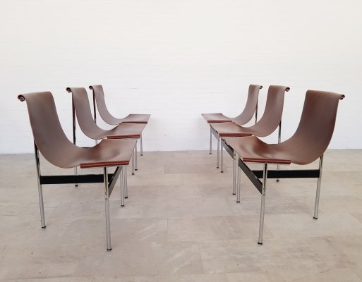Set of 6 'T' chairs by Douglas Kelly, Ross Littell & William Katavolos, 1960s