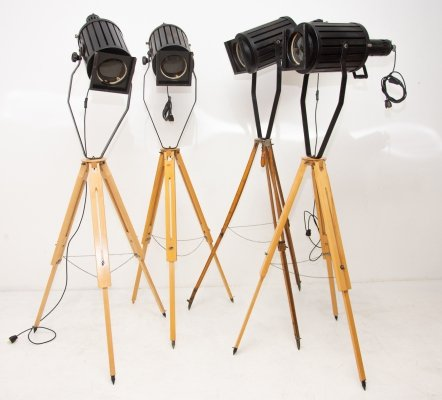 Set of 4 Industrial Theater Tripod Floor Lamps, 1970s
