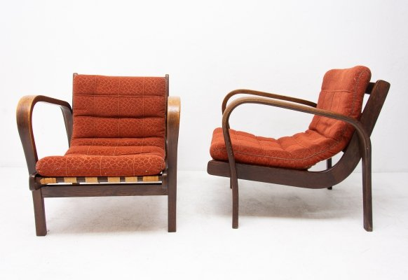 Pair of arm chairs by Antonín Kropáček & Karel Kozelka for Interier Praha, 1940s