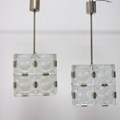 Pair of Vintage Cube pendants for Kamenický Šenov, 1970s
