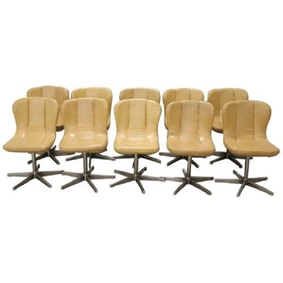Set of 10 Vintage Metal & Leather Swivel Chairs, 1960s