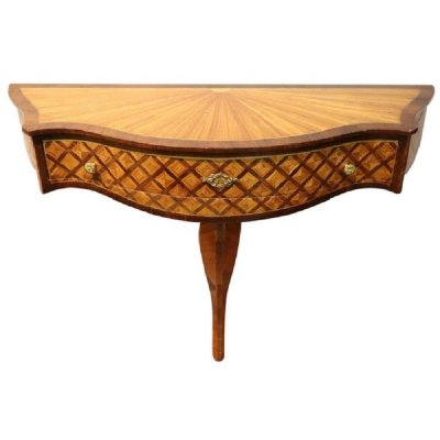 Vintage Inlaid Wood Console Table, 1950s