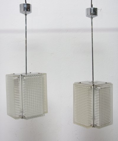 Pair of Vintage rectangular hanging lamps for Napako, 1970s