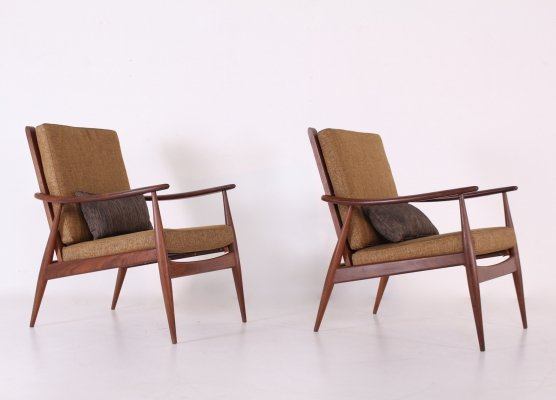Pair of Rosewood scandinavian easy chairs, 1960's