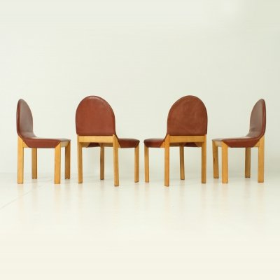 Set of Four Oak & Leather Chairs