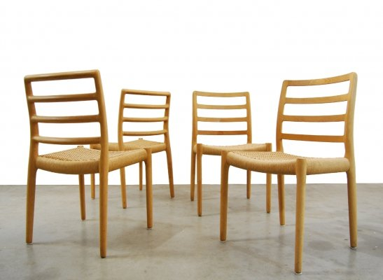 Vintage papercord 'model 85' dining chairs by Niels O. Møller, Denmark 1981