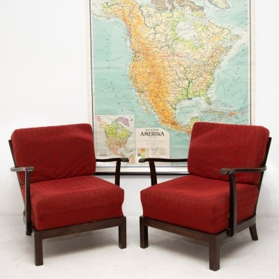 Pair of mid century armchairs for Thonet, Czechoslovakia
