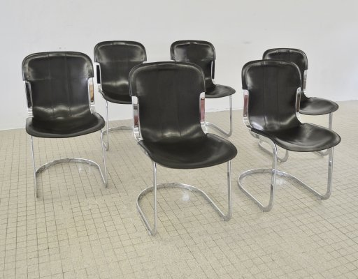 Set of 6 leather dining chairs by Willy Rizzo for Cidue, 1970s