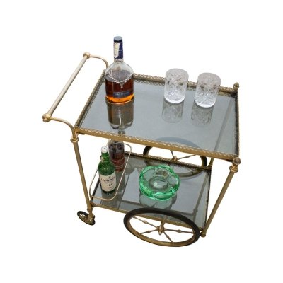 French Brass Serving Bar Cart, 1960s