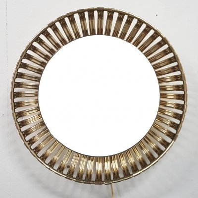 Gold colored illuminated mirror, 1960s