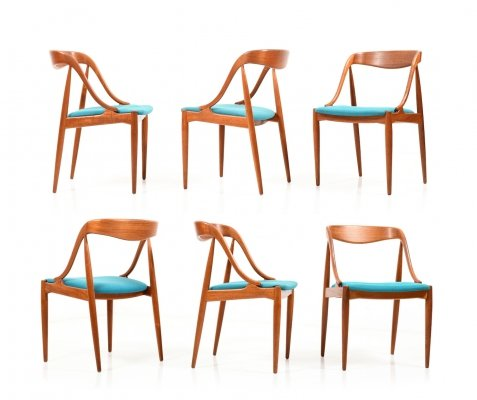 Set of six Early Production Teak 'Model 16' Dining Chairs by Johannes Andersen