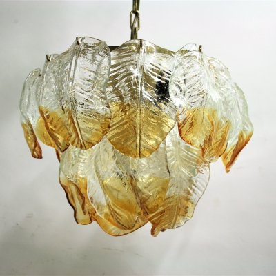 Murano glass leaf chandelier by Mazzega, 1960s