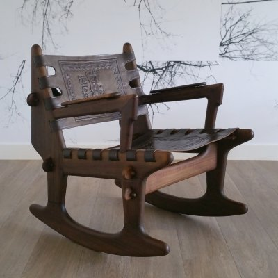 Wood & Leather Rocking Chair by Angel Pazmino for Meubles de Estilo, 1960s