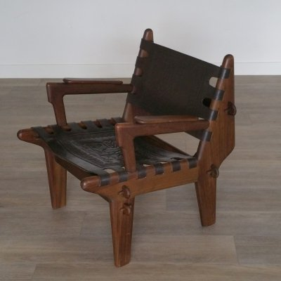 Wood & Leather Arm Chair by Angel Pazmino for Meubles de Estilo, 1960s