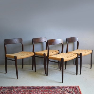 Set of 4 Model 75 dining chairs by Niels O. Møller, 1960's