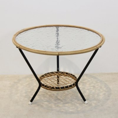Original Wicker Glass Table for Rohé Noordwolde, Netherlands