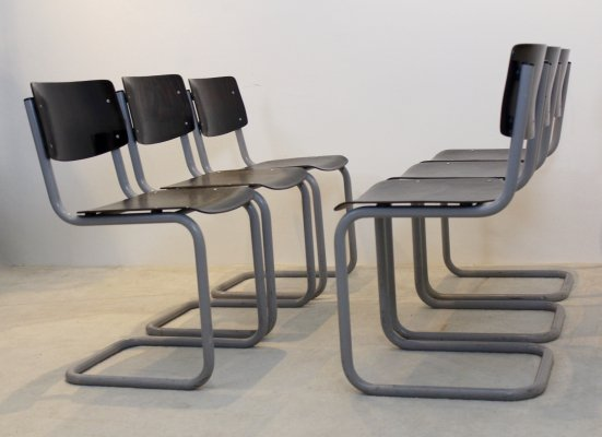 Set of six Gispen Industrial Plywood Chairs in Wenge & Grey frame
