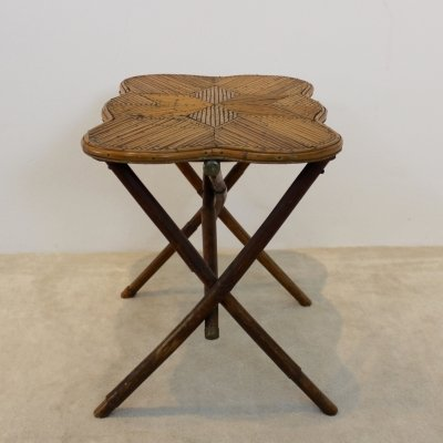 One of a kind Dutch Colonial Bamboo Side Table with Star image inlay, 1950s