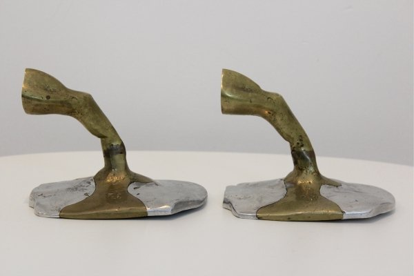 Pair of Handmade Brutalist David Marshall Bookends in Aluminium & Cast Brass, 1970s