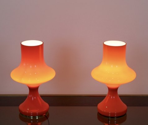 Set of Orange Opaline Glass Table Lamps by Štepán Tabery, 1960s
