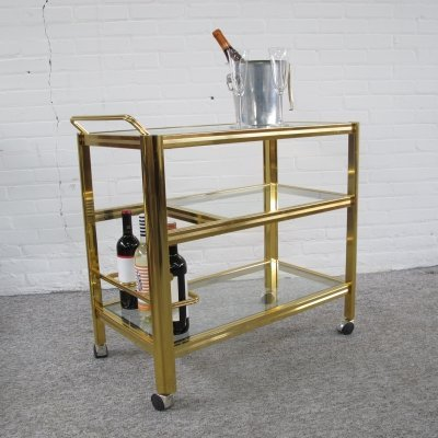 Vintage brass & glass serving trolley, 1970s