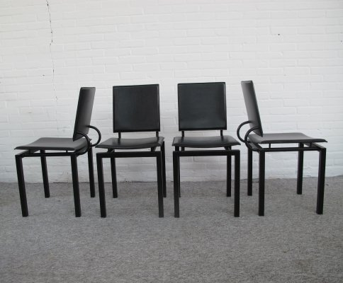 Set of 4 leather & metal Dining chairs, Italy 1970s