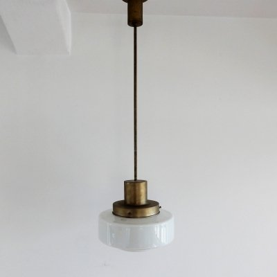 Original GISO marked glass pendant light by W.H. Gispen