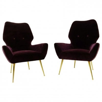 Pair of Italian 'Aubergine' Velvet Armchairs with Brass Feet, 1950s