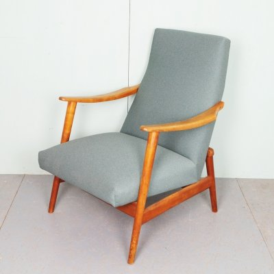 Vintage arm chair with light wooden frame, 1960's