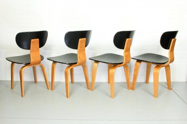 Set of 4 SB02 chairs by Cees Braakman for UMS Pastoe, Netherlands 1952
