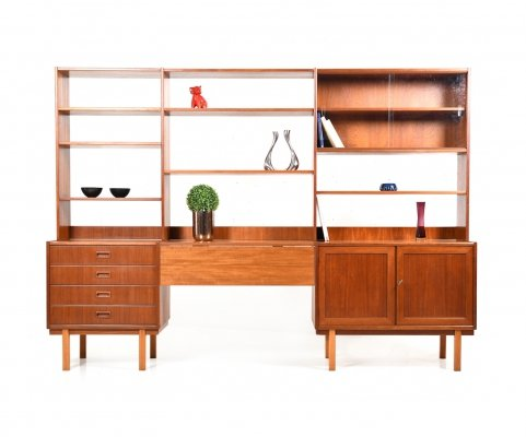 Mid Century Scandinavian modern teak Wall Unit / Shelf System with Deskplate