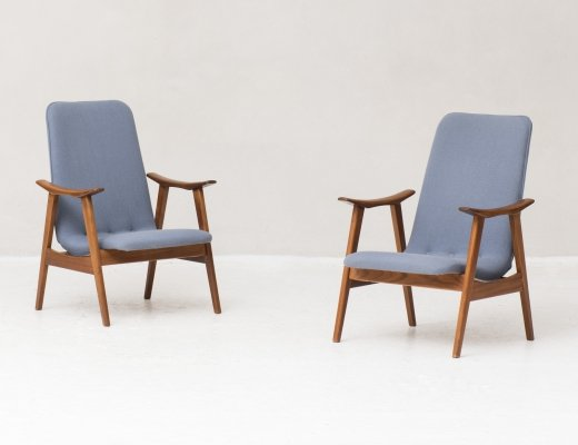 Set of two high back easy chairs by Louis van Teeffelen for Wébé, 1950's