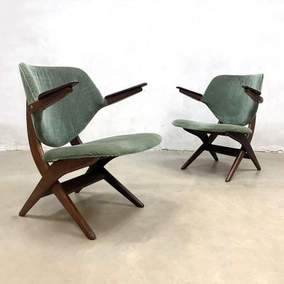Set of 2 vintage 'Pelican' armchairs by Louis van Teeffelen for Webe