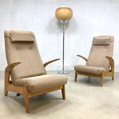 Set of 2 vintage design 'Rock 'n Rest' lounge chairs by Gimson & Slater