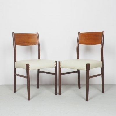 Set of 2 teak dining chairs with white skai, 1960's