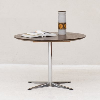 Round coffee table with a metal base & copper top, 1970