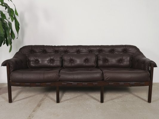 Leather Safari Sofa by Arne Norell for Coja, 1960s