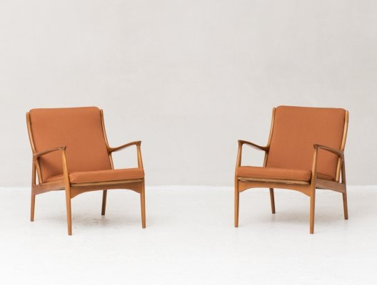 Pair of easy chairs by Erik Andersen & Palle Pedersen for Horsnaes, 1960s