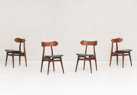 Set of 4 dining chairs by Louis van Teeffelen for Wébé, the Netherlands 1950s