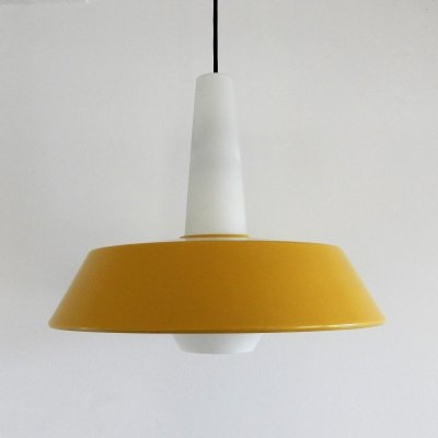 NT45 metal & glass pendant lamp by Louis Kalff for Philips, 1960's