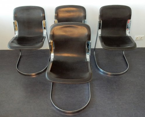 Set of 4 brown leather C2 dining chairs by Willy Rizzo for Cidue, Italy 1970s