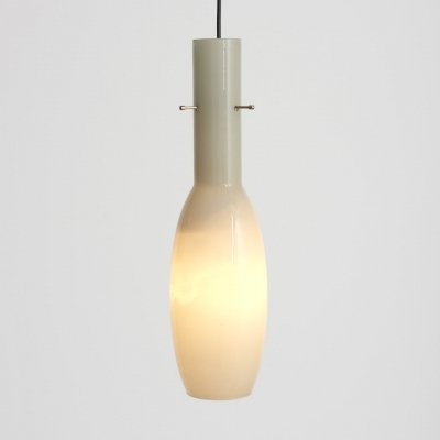 Italian Pendant in light grey glass & brass suspension