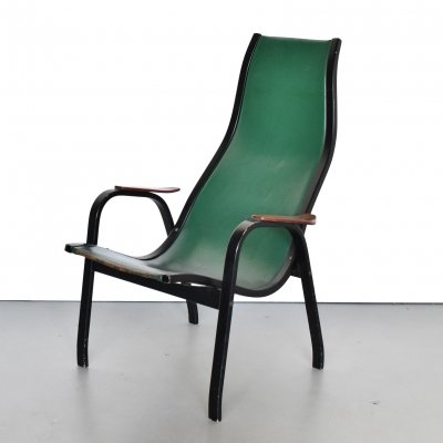 Green leather 'kurva' lounge chair by Yngve Ekström for Swedese, 1953