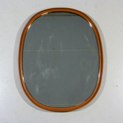Wall Mirror in Leather & Brass, 1950's