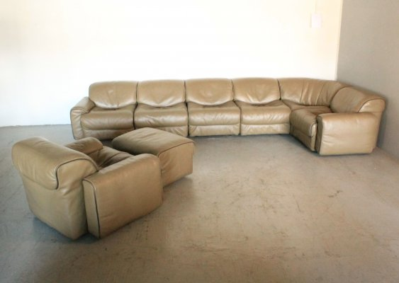 Vintage leather modular sofa by Jean Pierre Audebert for Jori