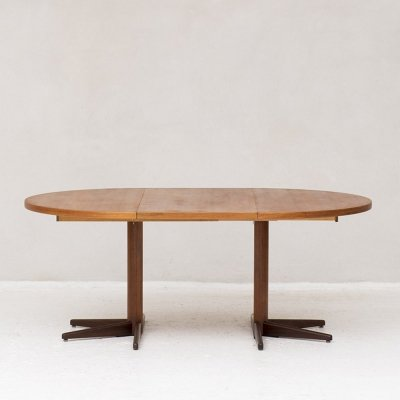 Round to oval extendable dining table, Denmark 1960s