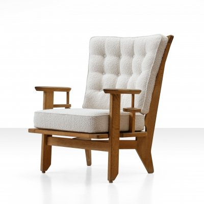 Guillerme et Chambron Oak Lounge Chair, France 1950s